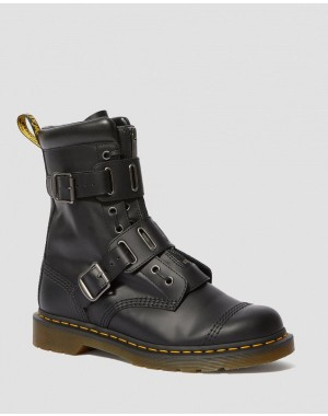 Black Friday 2020 Botas de piel con hebilla Quynn - BLACK ROLLED SMOOTH Barato